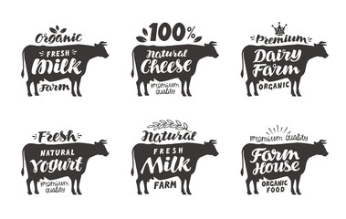 Cow. Vector set food labels, badges and icons. Lettering milk, cheese, dairy farm, yogurt