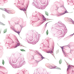 Seamless pattern of watercolor romantic magnolia isolated on white background