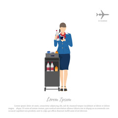Stewardess with a trolley for food and beverages. Woman in unifo