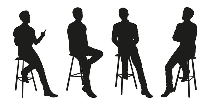Sitting Man Vector Silhouettes