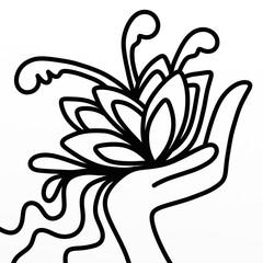 Spoed Foto op Canvas Klassieke abstractie flowers in hand in black and white