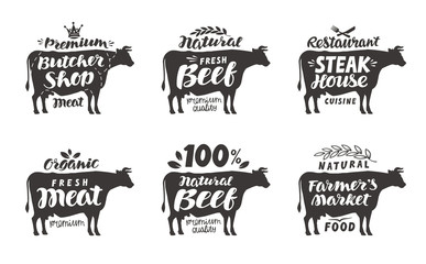 Cow. Vector set food labels, badges and icons. Lettering butcher shop, beef, steak house, meat, farmer's market