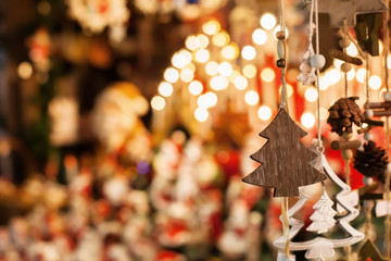 christmas decoration tree in the shop, winter street market in Europe Fotomurales