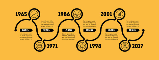 Horizontal Infographic timeline. Business concept with options,