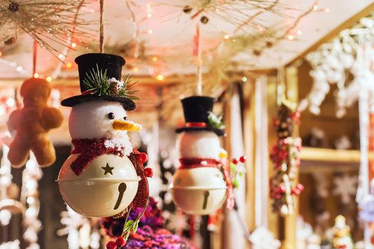 snowman toy decoration on christmas market