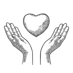 Heart in open female human palms. Vector black vintage engrav