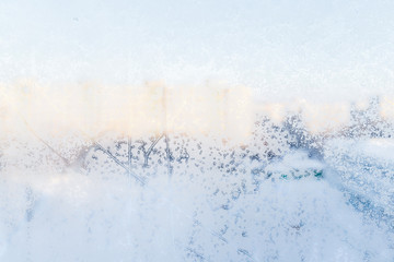 Ice patterns on glass. winter background