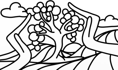 Spoed Foto op Canvas Klassieke abstractie tree and hands in black and white