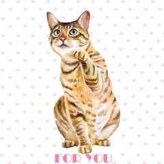Greeting card design. Watercolor portrait of bengal cute cat with dots, stripes isolated on white background. Hand drawn sweet home pet. Bright colors, realistic design. Clip art. For any even