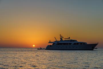 Sunset at Pollara (Salina) looking towards ships and Filicudi an