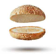 Burger bun empty isolated