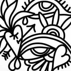 Foto auf AluDibond Klassische Abstraktion design with eyes and heart in black and white