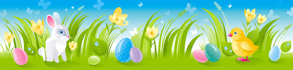Happy Easter Banner Border Spring Landscape Bunny Rabbit Chicken Egg Crocus Flower