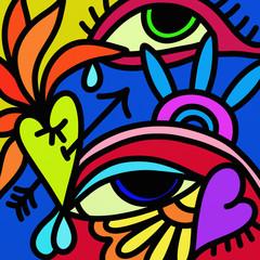 Foto auf AluDibond Klassische Abstraktion design with eyes and heart