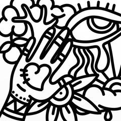 Foto auf AluDibond Klassische Abstraktion design with hand and eye in black and white