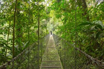 Hanging bridge at natural rainforest park in Costa Rica