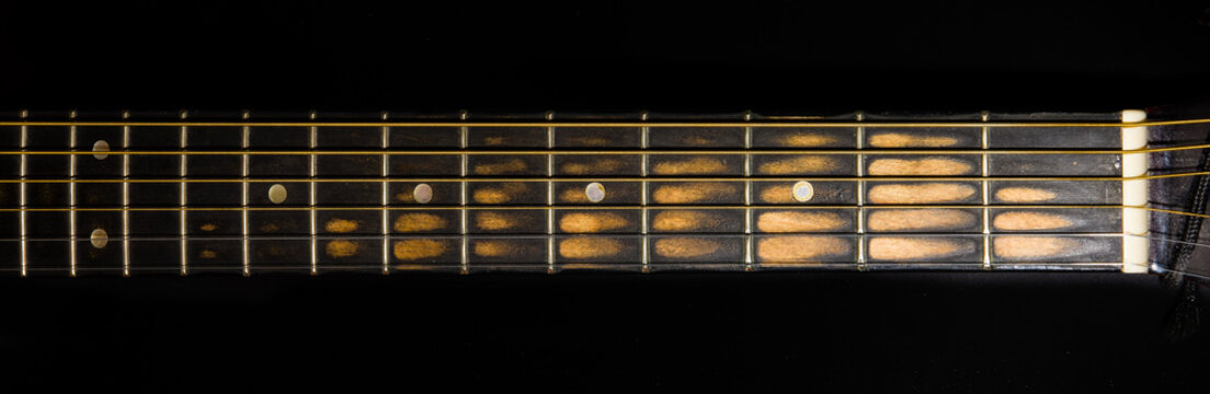 worn guitar neck (front view)