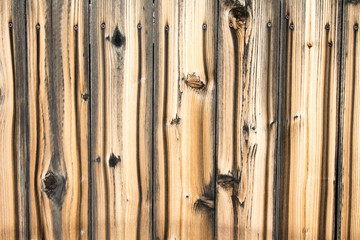 Full frame cedar fence with knots and stains from screw heads