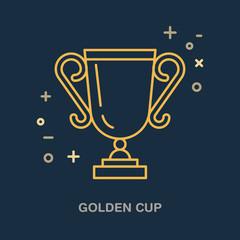 Champion trophy linear icon. Golden cup logo, championship sign. Winner award, leadership illustration.