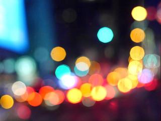 Bunter Bokeh am Abend - Leuchtende Verkehrslichter
