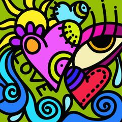 Spoed Foto op Canvas Klassieke abstractie design with heart and eye i