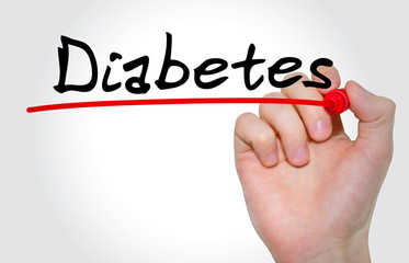 """Hand writing inscription """"Diabetes"""" with marker, concept"""