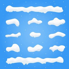 Snow caps, snowballs and snowdrifts set. Winter decoration element. Snowy elements on blue background. Cartoon template. Snowfall and snowflakes in motion.Vector Illustration.