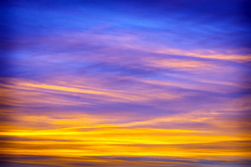 Beautiful sunset, clouds in many colors