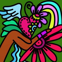 Spoed Foto op Canvas Klassieke abstractie design with heart and hand