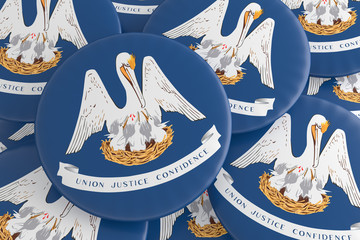 US State Buttons: Pile of Louisiana Flag Badges, 3d illustration