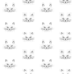 black muzzle cat pattern face head seamless vector