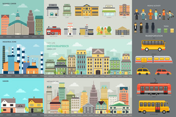 City Life and Transportation Infographic Elements
