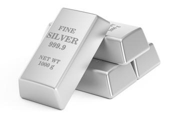 silver bars, 3D rendering