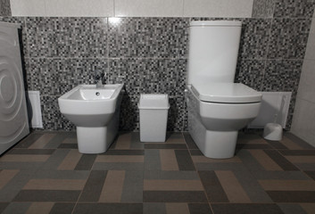 white modern toilet and bidet