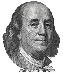 Benjamin Ben Franklin face on US 100 dollar bill closeup isolated, United States of America money close up.