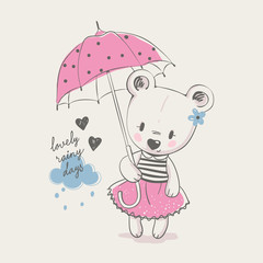Cute little bear girl with umbrella, cartoon hand drawn vector illustration. Can be used for baby t-shirt print, fashion print design, kids wear, baby shower celebration greeting and invitation card.