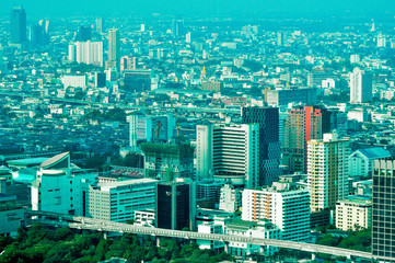 Aerial city view of central part of Bangkok, Thailand, Asia