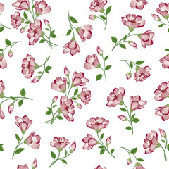 Floral white pattern. Flower seamless background. Flourish ornament. Spring garden texture