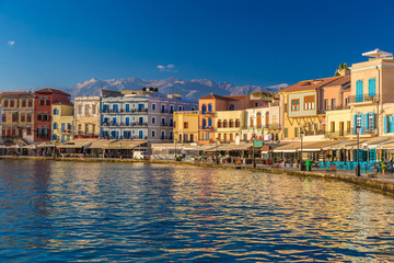 Beautiful venetian port of Chania, Crete island, Greece