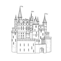 Castle landmark sketch illustration. Medieval palace building with towers. Fortress engraving isolated