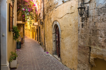 Beautiful mediaval streets of Chania, Crete island, Greece