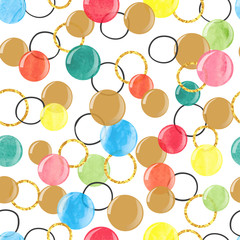 Vector celebration background. Seamless pattern with colorful watercolor bubbles.