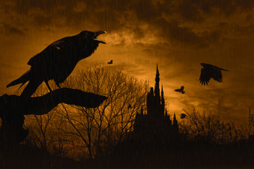 horror scene with a raven in front and castle at  back under rain at dusk on yellow background