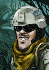 Funny hand drawn illustration cartoon. Army special forces soldier face in the jungle smiling