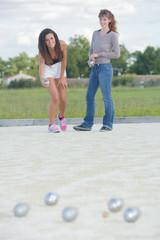 girls playing petanque