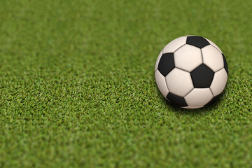 Soccer ball on green field.