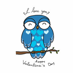 Blue male owl say i love you cartoon illustration