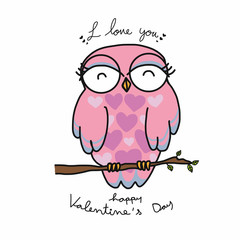 Pink female owl say i love you cartoon illustration