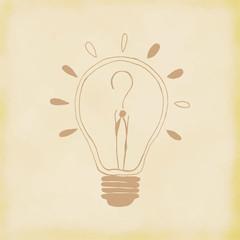 Light bulb idea. Hand drawn. Vector Illustration.