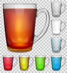 Set of transparent glass cups with multicolored translucent drinks on transparent background. Transparency only in vector file